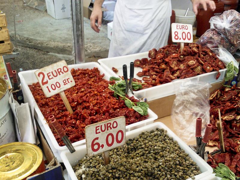 Sicily Ribera market dried tomatoes