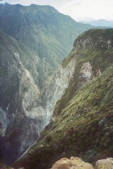 Peru Colca Canyon portrait green rocks