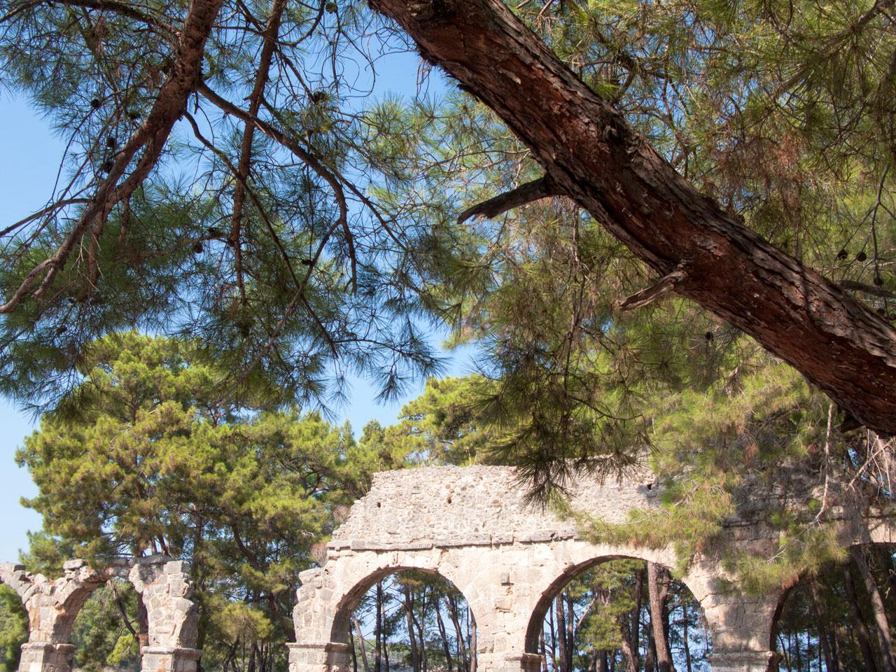 Turkey Phaselis roman ruins at seaside