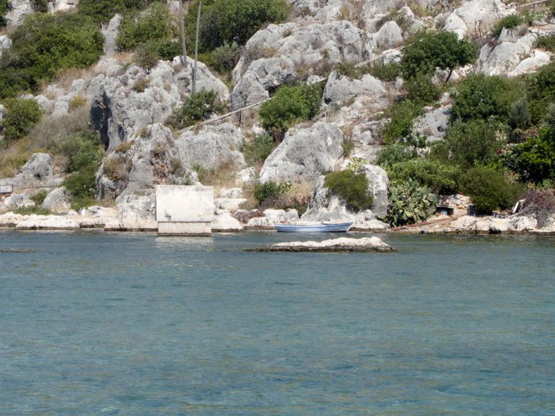 Turkey ucagiz boat kalekoy grave in the sea