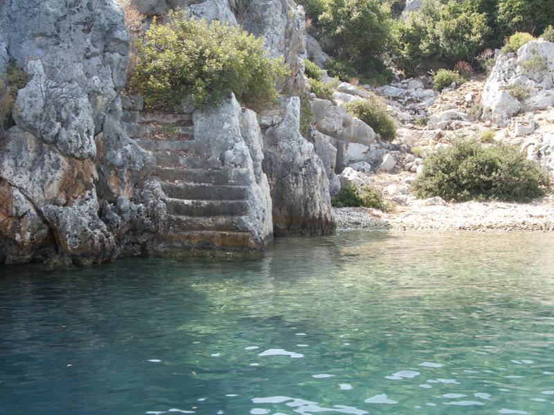 Turkey Ucagiz Kekova island sea stairs ruins