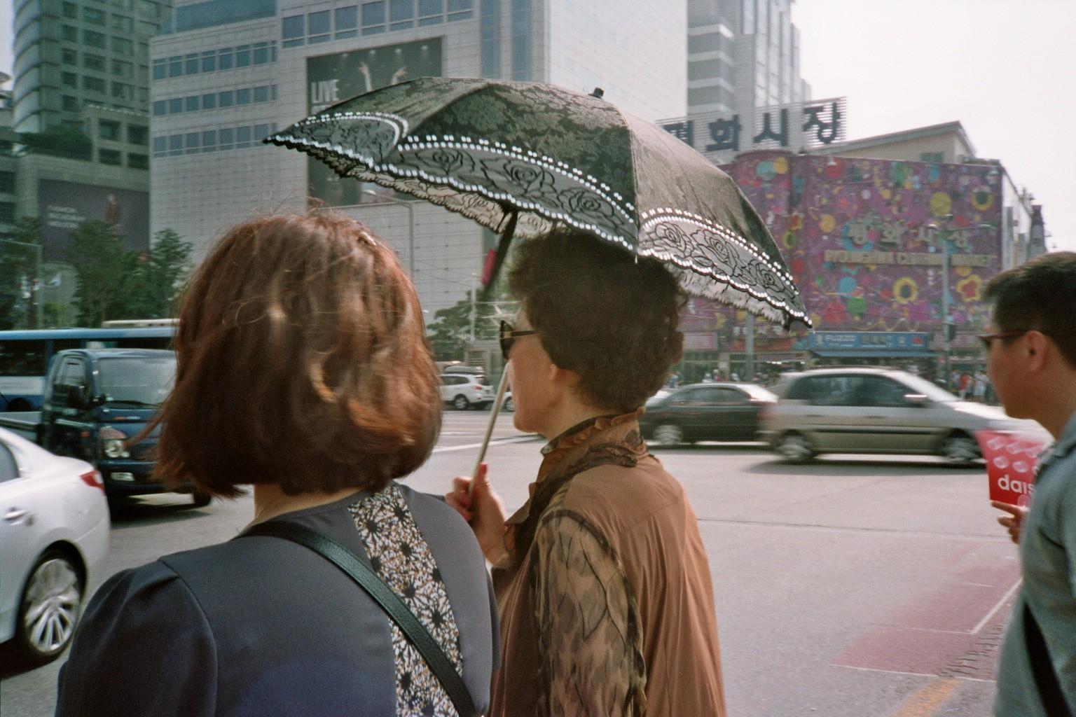 South Korea Seoul women umbrella