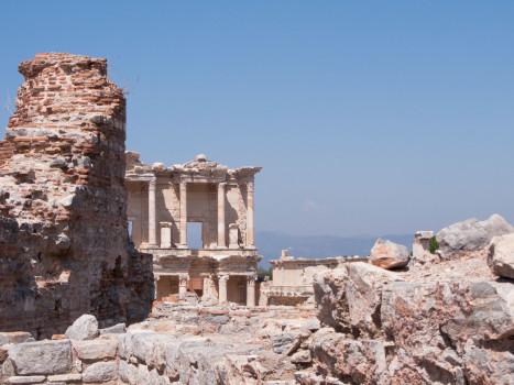 turkey ephesus library ruins panorama
