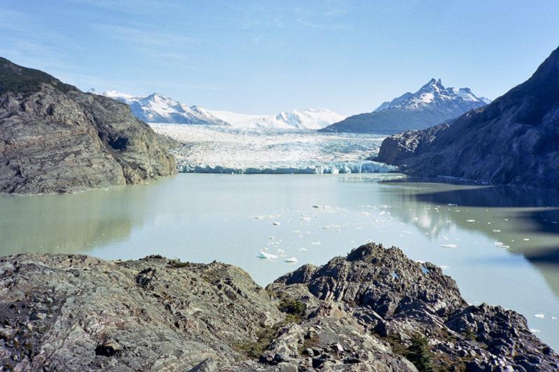 Chile Patagonia Torres del Paine Glaciar Grey sun