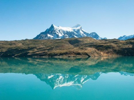 Chile Patagonia Torres del Paine Pudeto ferry reflection2