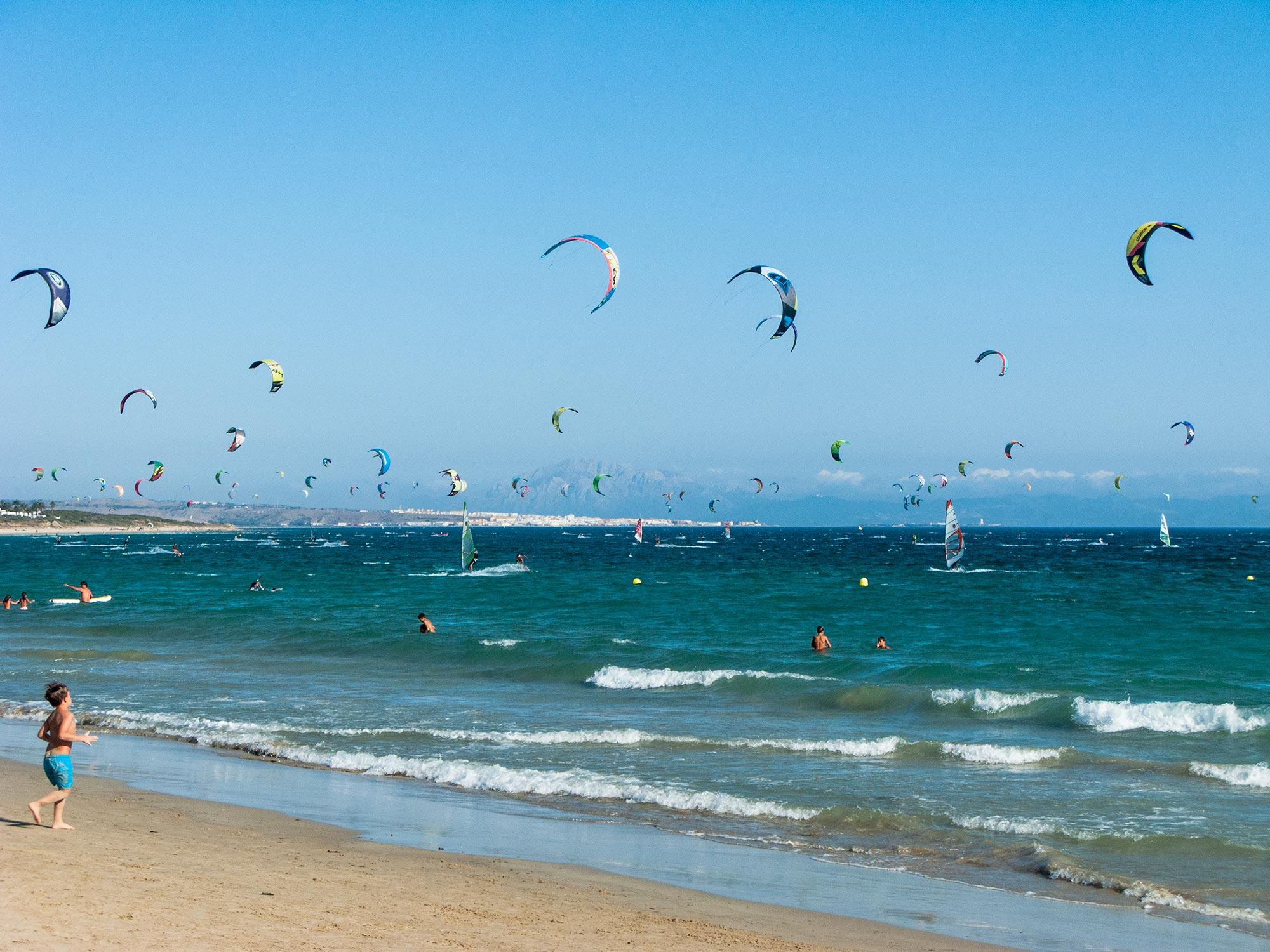 valdevaqueros beach kitesurfers and africa in the horizon