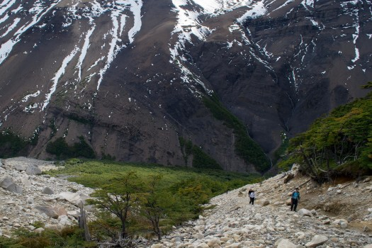 Chile Patagonia Torres del Paine rocky path trekkers