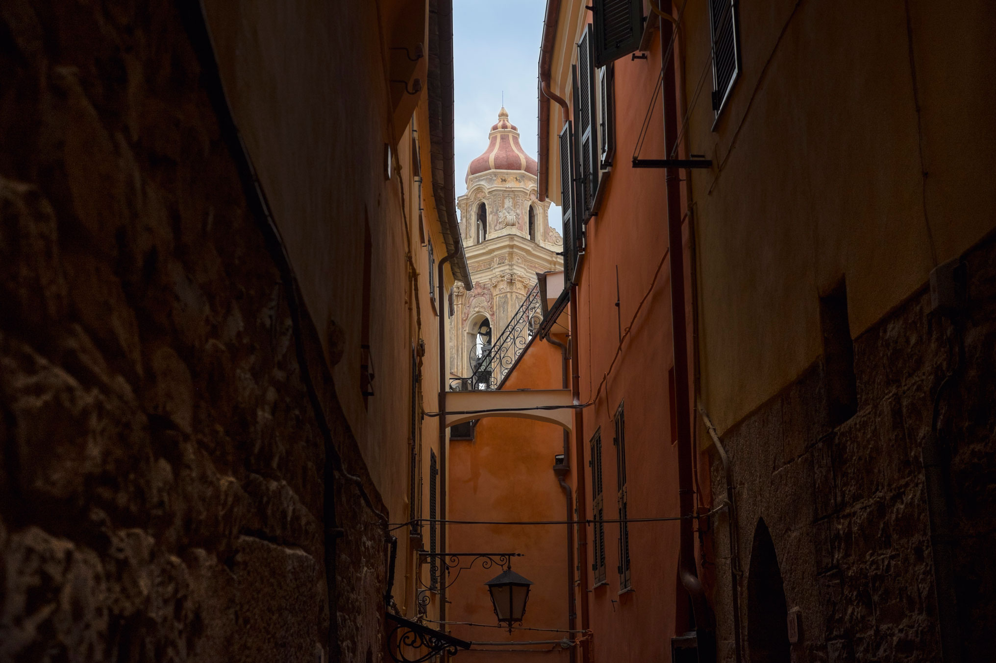 Italy Liguria Cervo dark street church view