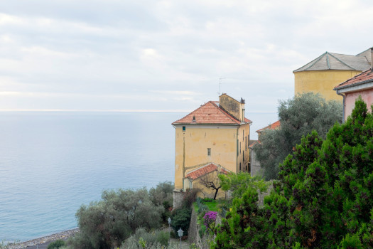 Italy Liguria Cervo house cliff view