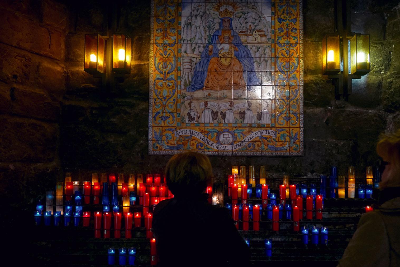 Spain Barcelona Montserrat Monastery Santa Maria candle path4