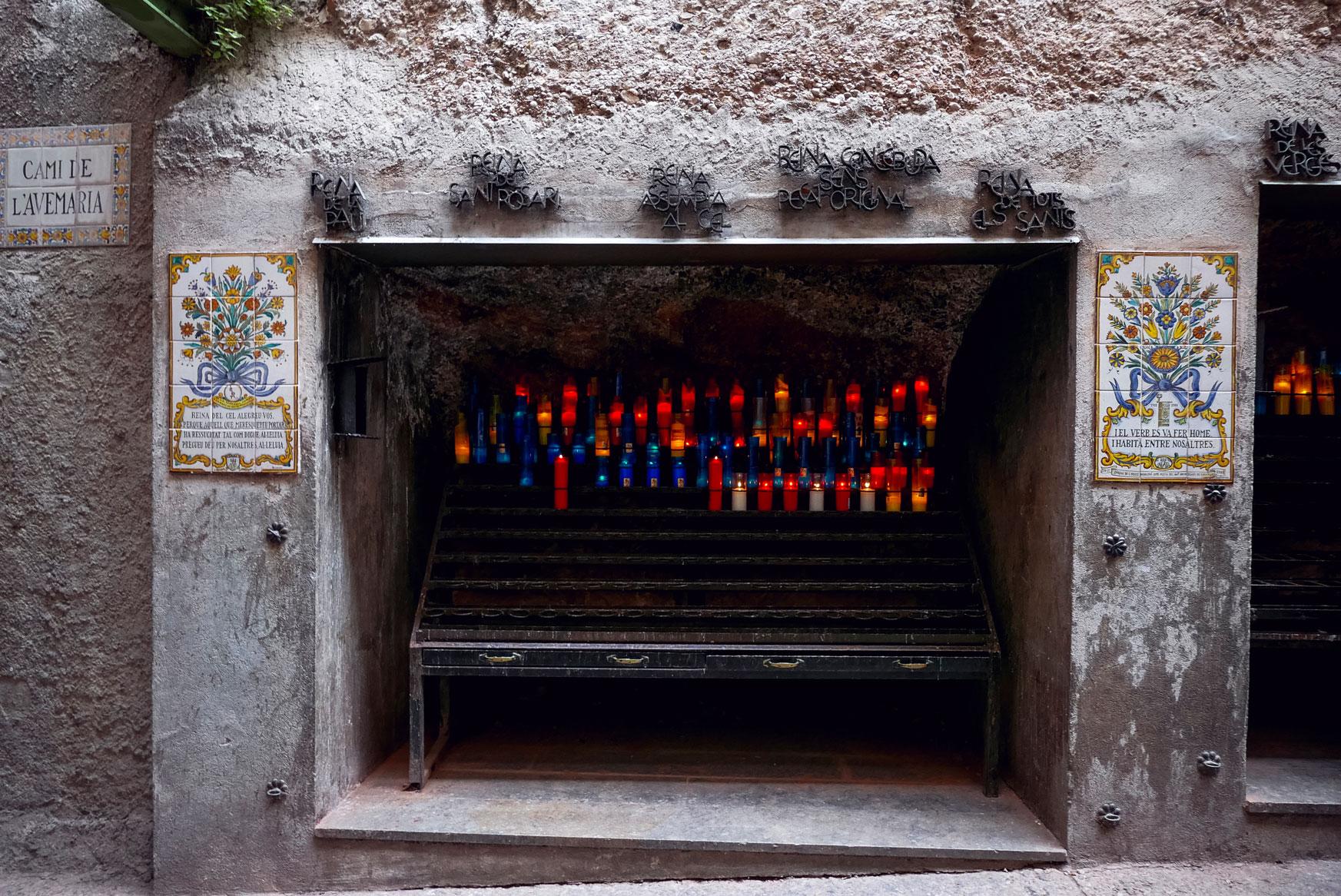 Spain Barcelona Montserrat Monastery Santa Maria candle path5