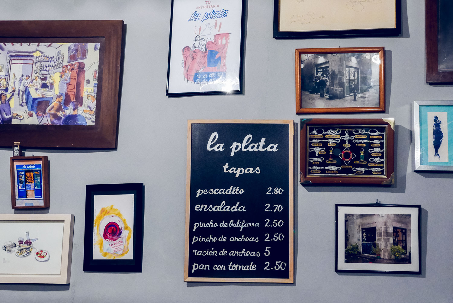 Spain Barcelona Tapas bar la plata menu